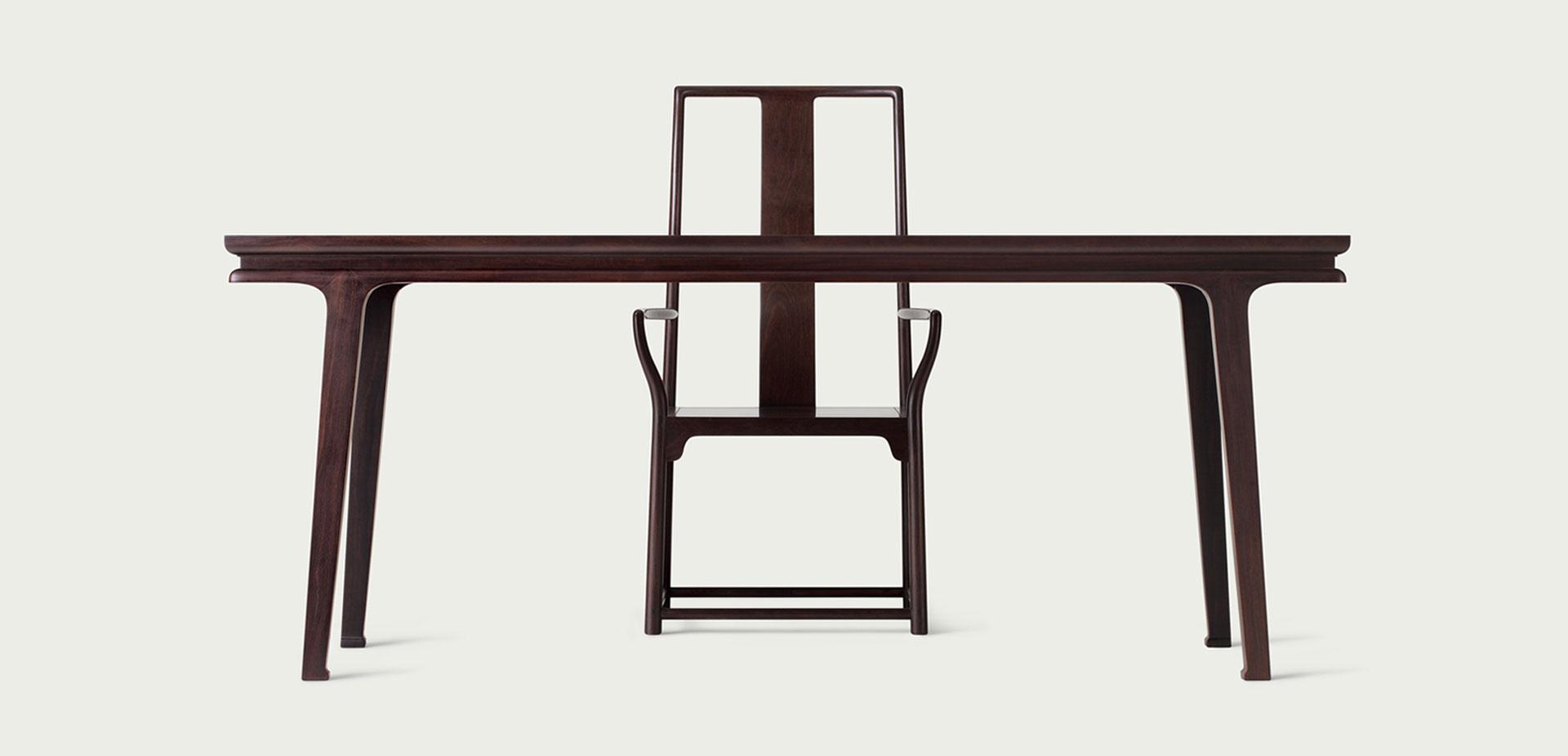 黑紫檀198画案-灯挂椅